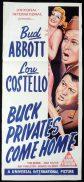 BUCK PRIVATES COME HOME Original Daybill Movie poster Abbott and Costello