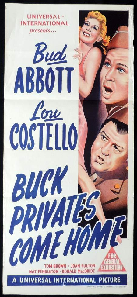 BUCK PRIVATES COME HOME Original Daybill Movie poster Abbott and Costello