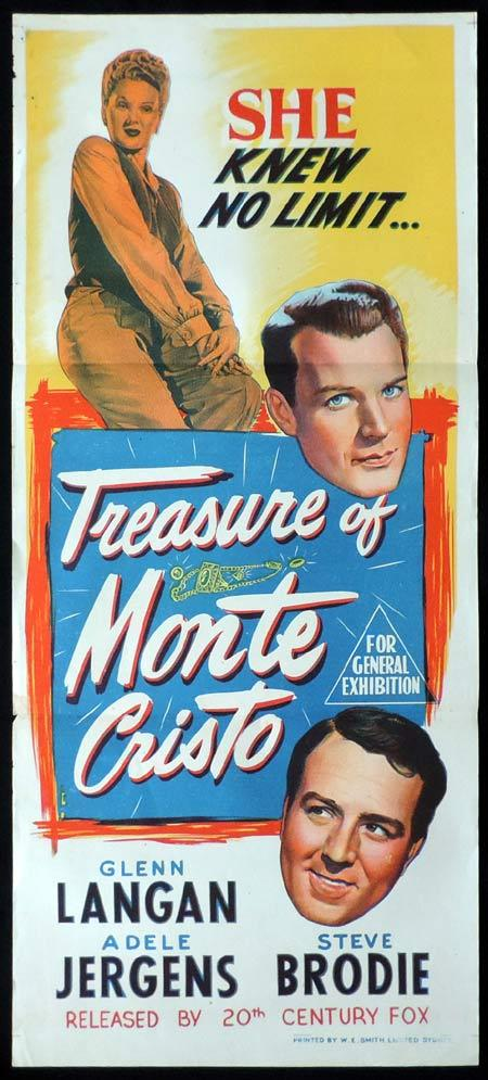 TREASURE OF MONTE CRISTO Original Daybill Movie Poster Adele Jergens