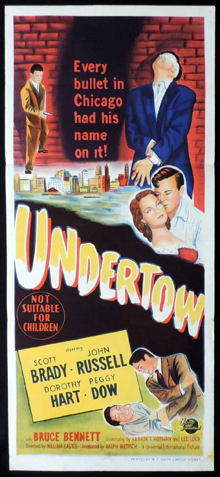 UNDERTOW Original Daybill Movie Poster William Castle Scott Brady Film Noir