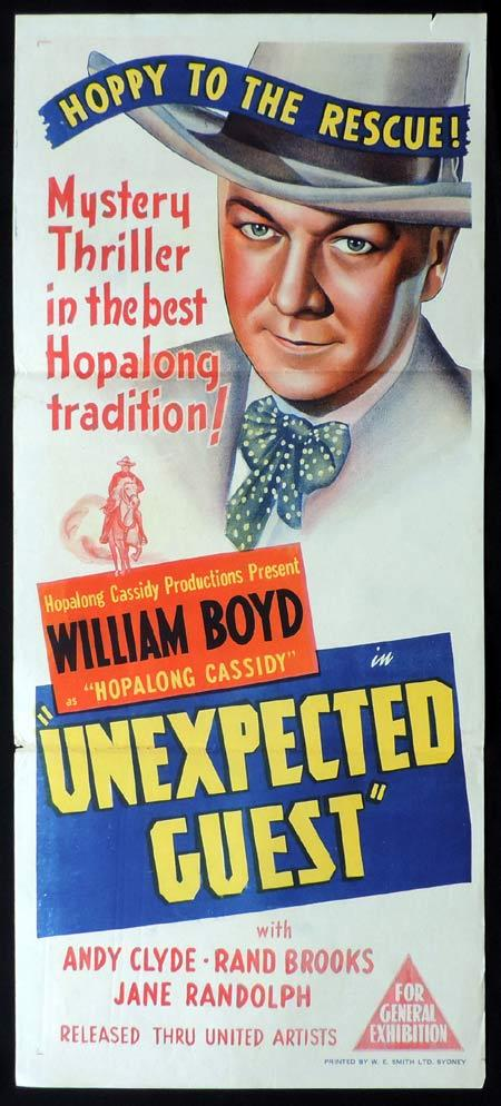 UNEXPECTED GUEST Original Daybill Movie Poster William Boyd Hopalong Cassidy