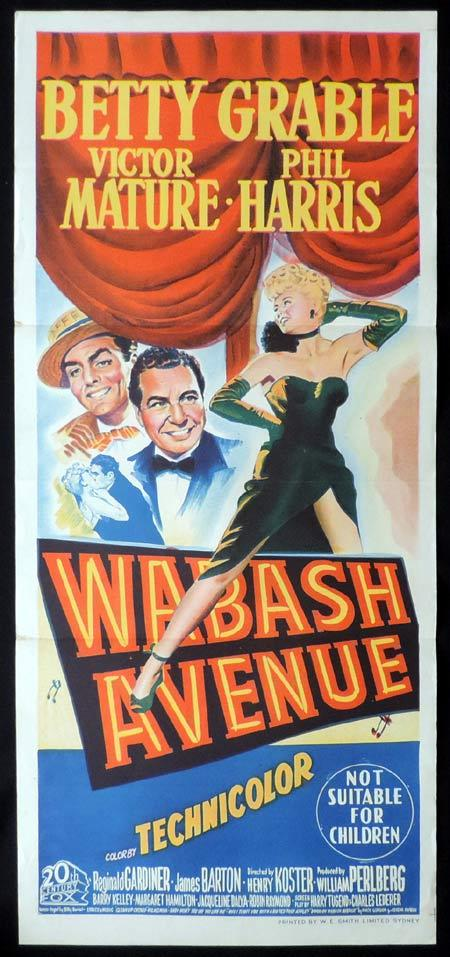 WABASH AVENUE Original Daybill Movie Poster Betty Grable