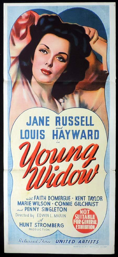 YOUNG WIDOW Original Daybill Movie Poster Louis Hayward Jane Russell