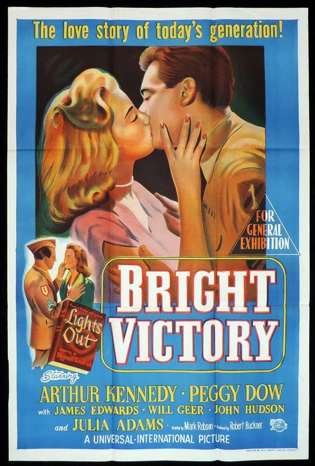 BRIGHT VICTORY Original One sheet Movie Poster Arthur Kennedy Peggy Dow