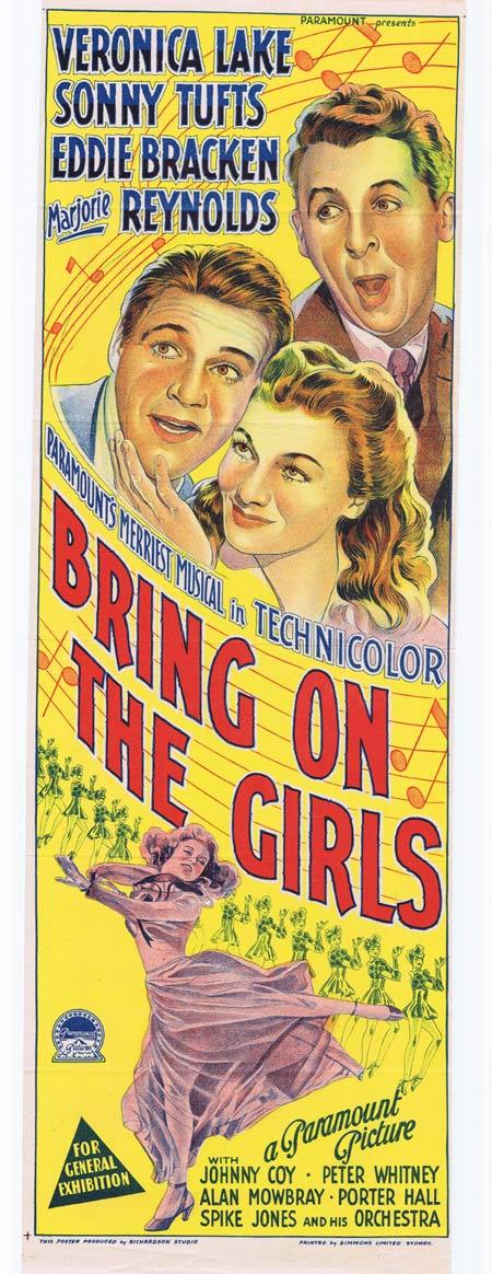 BRING ON THE GIRLS, Original Daybill, Movie Poster, VERONICA LAKE, Sonny Tufts