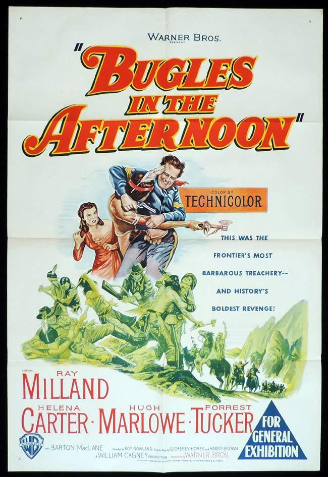 BUGLES IN THE AFTERNOON Original One sheet Movie Poster RAY MILLAND Helena Carter