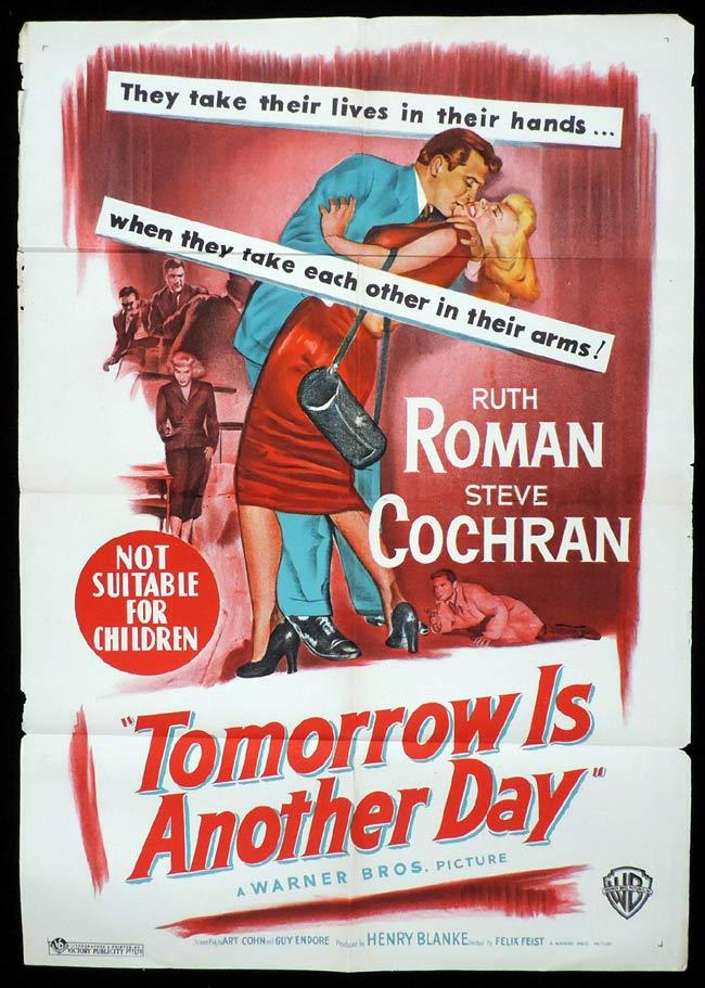 TOMORROW IS ANOTHER DAY, Original One sheet, Movie Poster, RUTH ROMAN, Steve Cochran