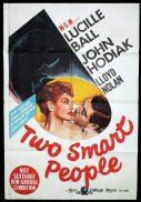 TWO SMART PEOPLE Original One sheet Movie Poster LUCILLE BALL John Hodiak
