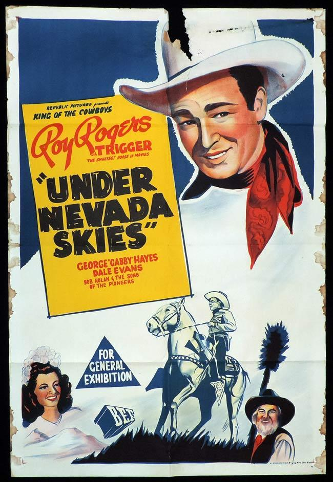 UNDER NEVADA SKIES Original One sheet Movie Poster ROY ROGERS George 'Gabby' Hayes