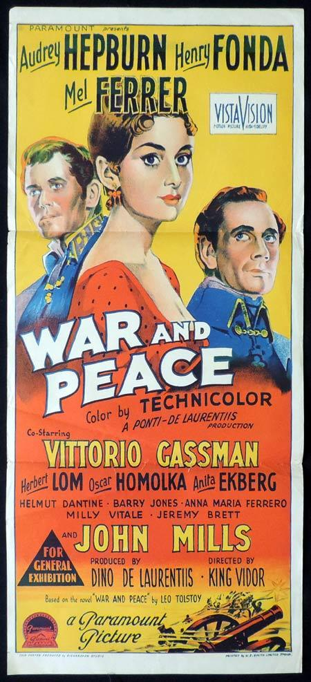 "WAR AND PEACE Original Daybill Movie Poster AUDREY HEPBURN Henry Fonda ""A"" Richardson Studio"