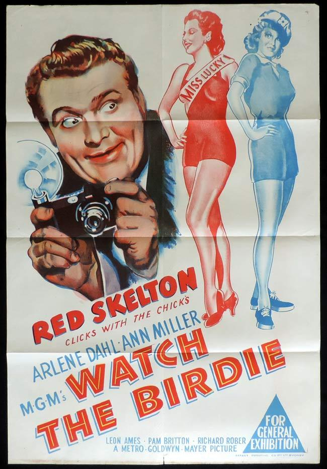 WATCH THE BIRDIE Original One sheet Movie Poster Red Skelton Arlene Dahl Ann Miller