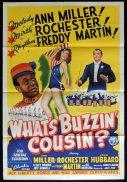 WHAT'S BUZZIN COUSIN Original One sheet Movie Poster ANN MILLER Eddie Rochester Anderson John Hubbard