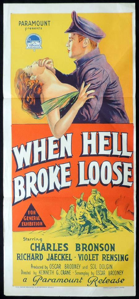 WHEN HELL BROKE LOOSE Original Daybill Movie Poster CHARLES BRONSON RIchard Jaeckel Richardson Studio