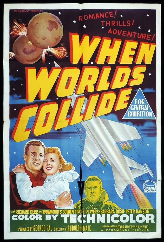 WHEN WORLDS COLLIDE Original One sheet Movie Poster SCI FI Classic