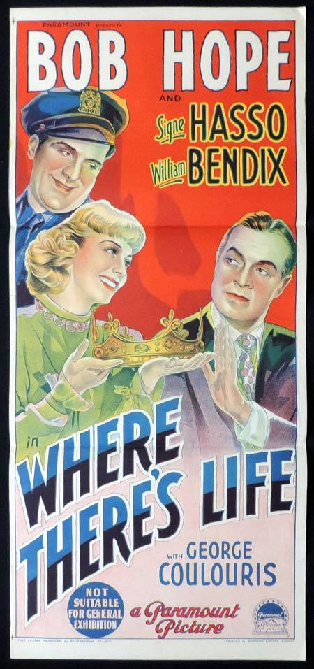 WHERE THERE'S LIFE Original Daybill Movie Poster BOB HOPE Signe Hasso William Bendix Richardson Studio