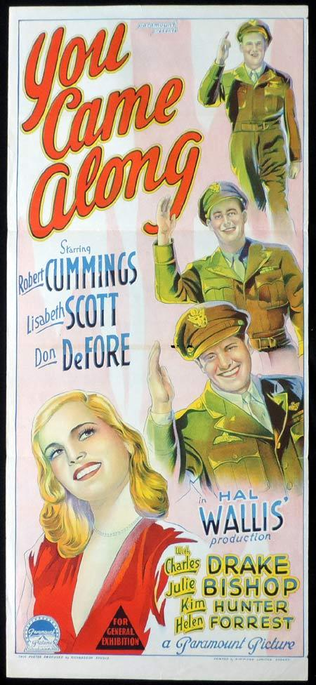 YOU CAME ALONG Original Daybill Movie Poster ROBERT CUMMINGS Lizabeth Scott Richardson Studio