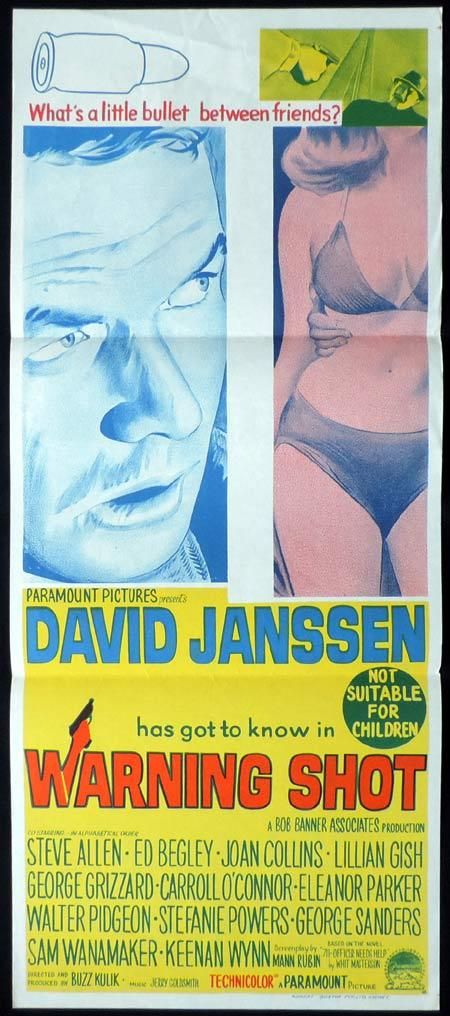 WARNING SHOT Original daybill Movie Poster David Janssen Joan Collins