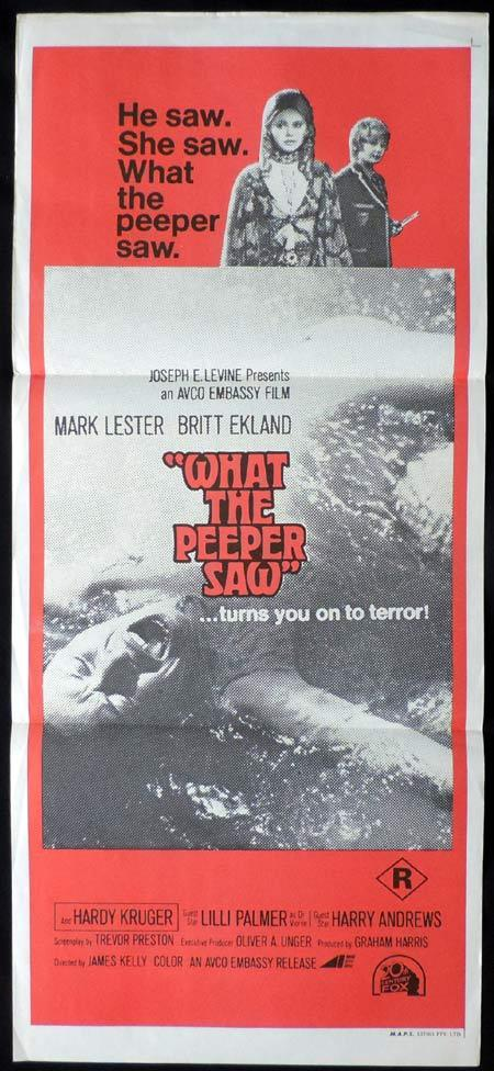 WHAT THE PEEPER SAW Rare daybill Movie Poster Britt Ekland Mark Lester Horror