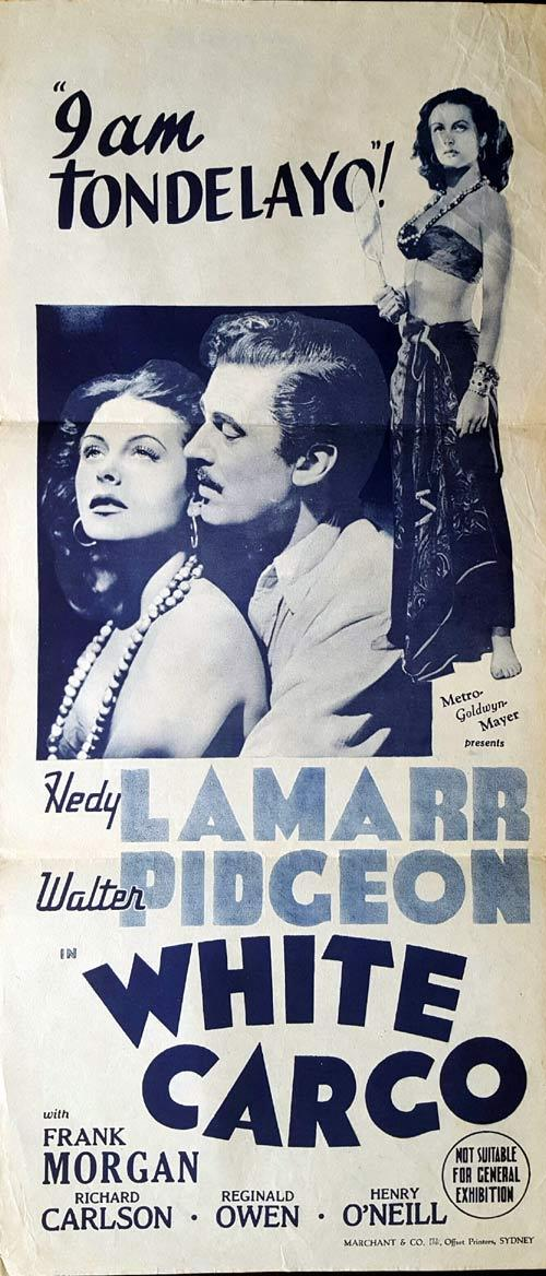 WHITE CARGO Original Daybill Movie Poster Hedy Lamarr Walter Pidgeon