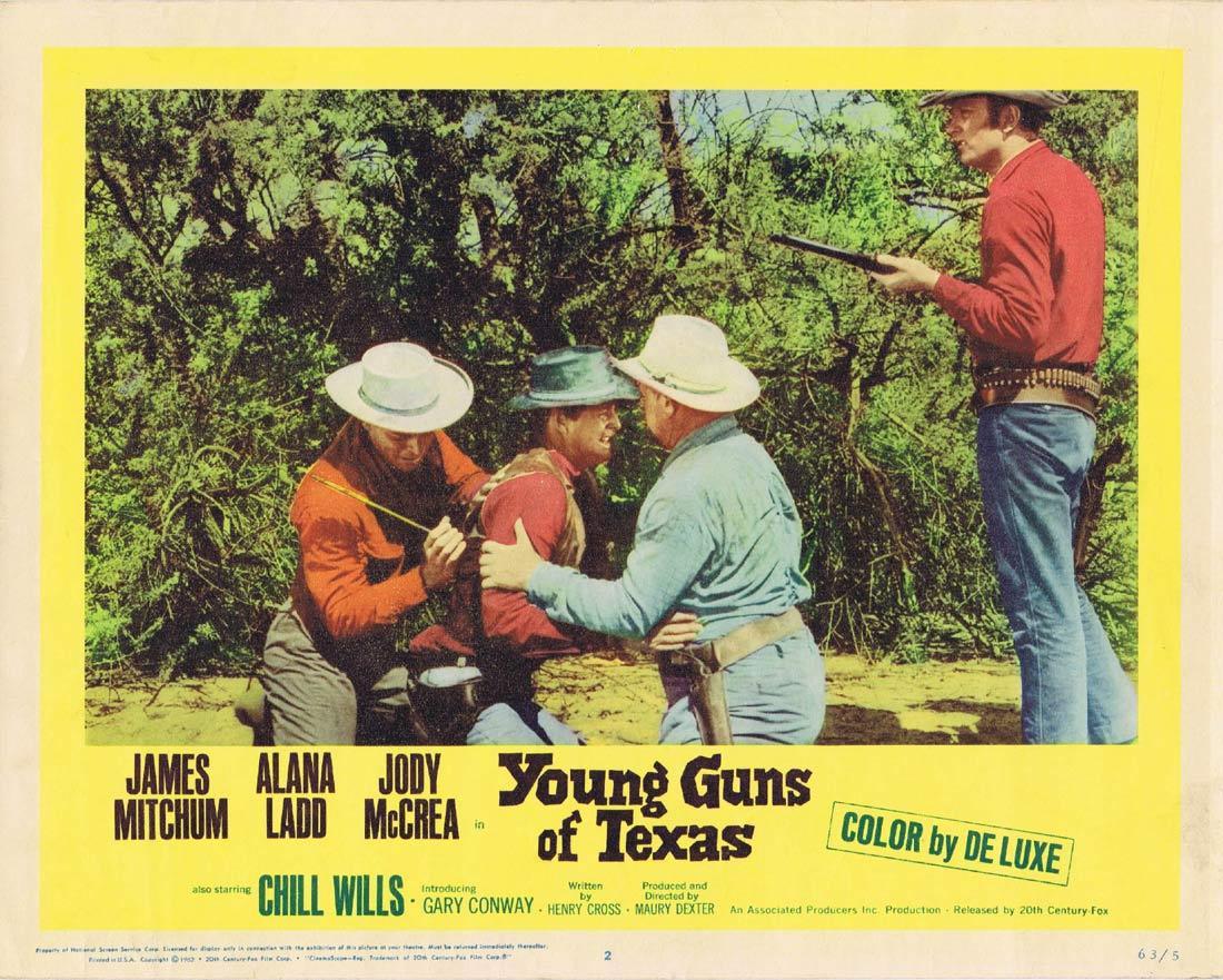 YOUNG GUNS OF TEXAS Lobby Card 2 James Mitchum Alana Ladd Jody McCrea Chill Wills