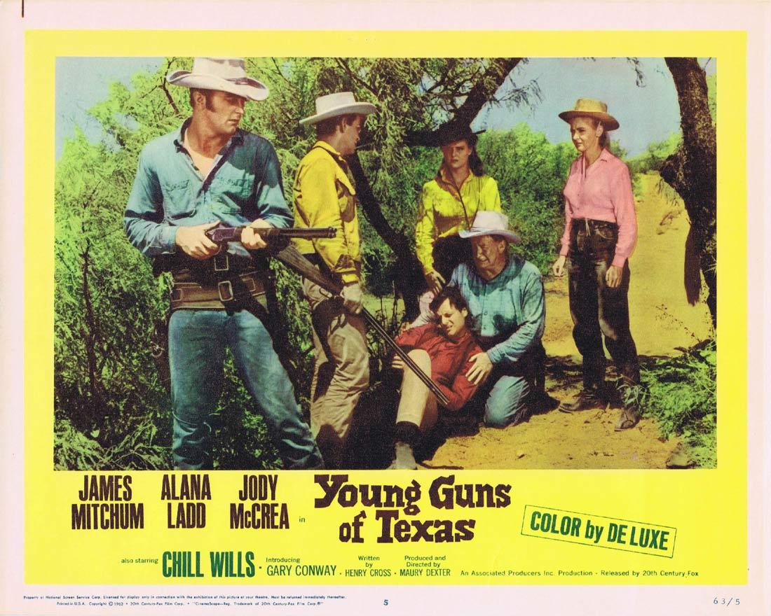 YOUNG GUNS OF TEXAS Lobby Card 5 James Mitchum Alana Ladd Jody McCrea Chill Wills