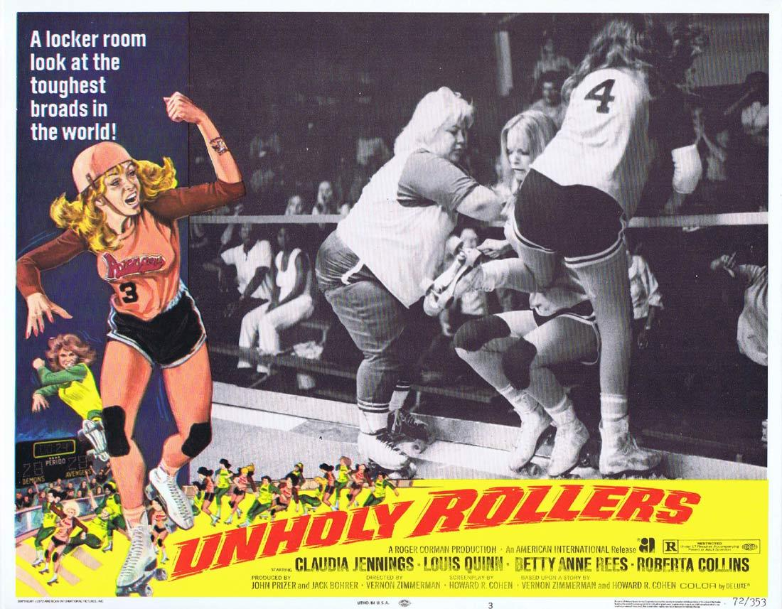 UNHOLY ROLLERS Lobby Card 3 Claudia Jennings Louis Quinn Betty Anne Rees Roller Derby
