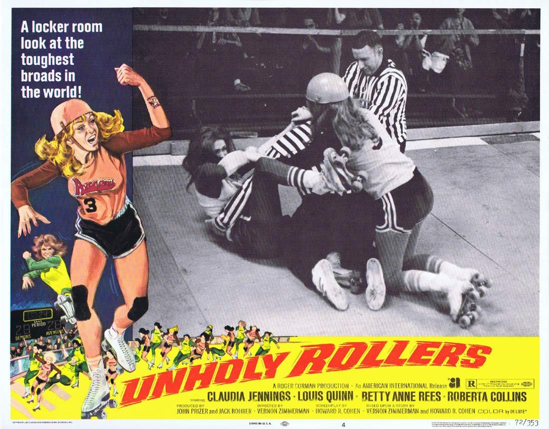UNHOLY ROLLERS Lobby Card 4 Claudia Jennings Louis Quinn Betty Anne Rees Roller Derby