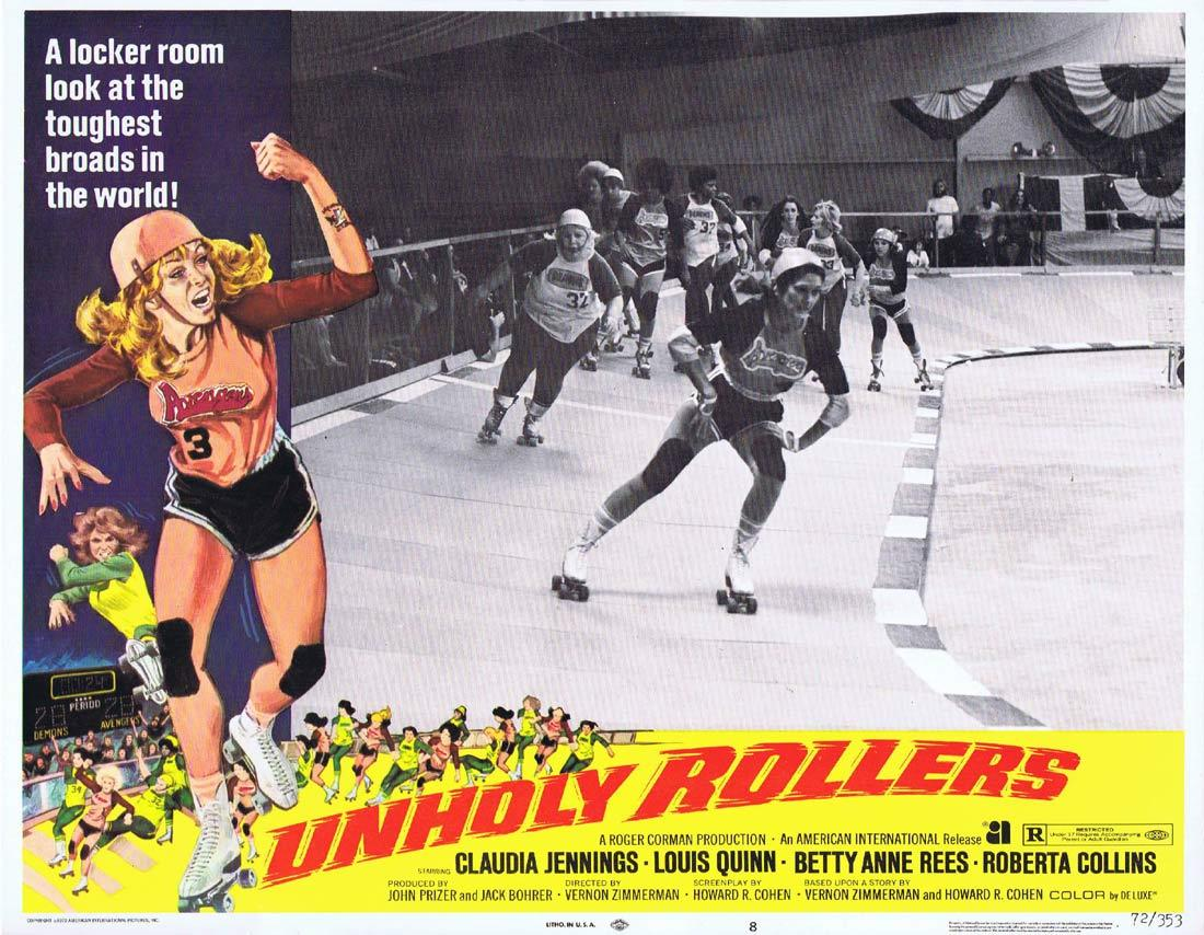 UNHOLY ROLLERS Lobby Card 8 Claudia Jennings Louis Quinn Betty Anne Rees Roller Derby