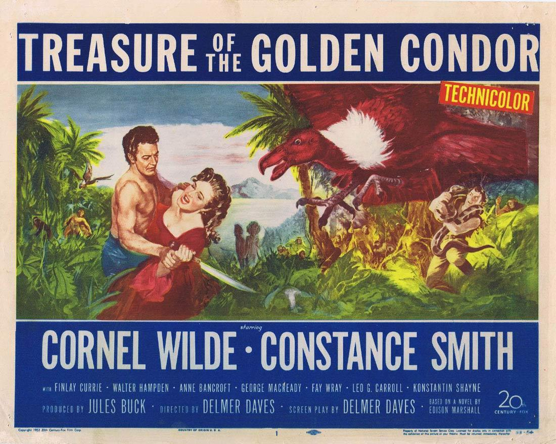 TREASURE OF THE GOLDEN CONDOR Vintage Title Lobby Card Cornel Wilde Constance Smith