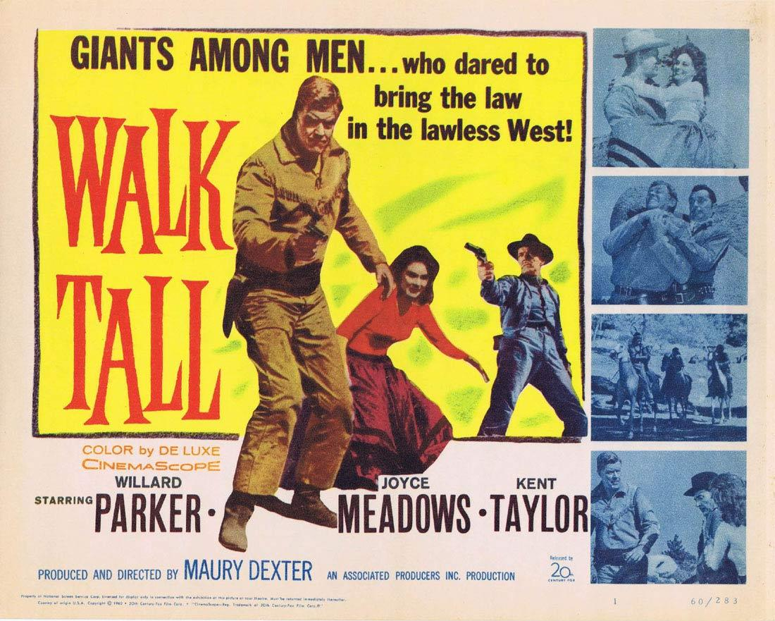 WALK TALL '60 Willard Parker Meadows Title Lobby card