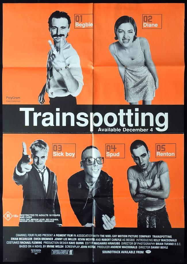TRAINSPOTTING Original One sheet Movie Poster Ewan McGregor Ewen Bremner Jonny Lee Miller
