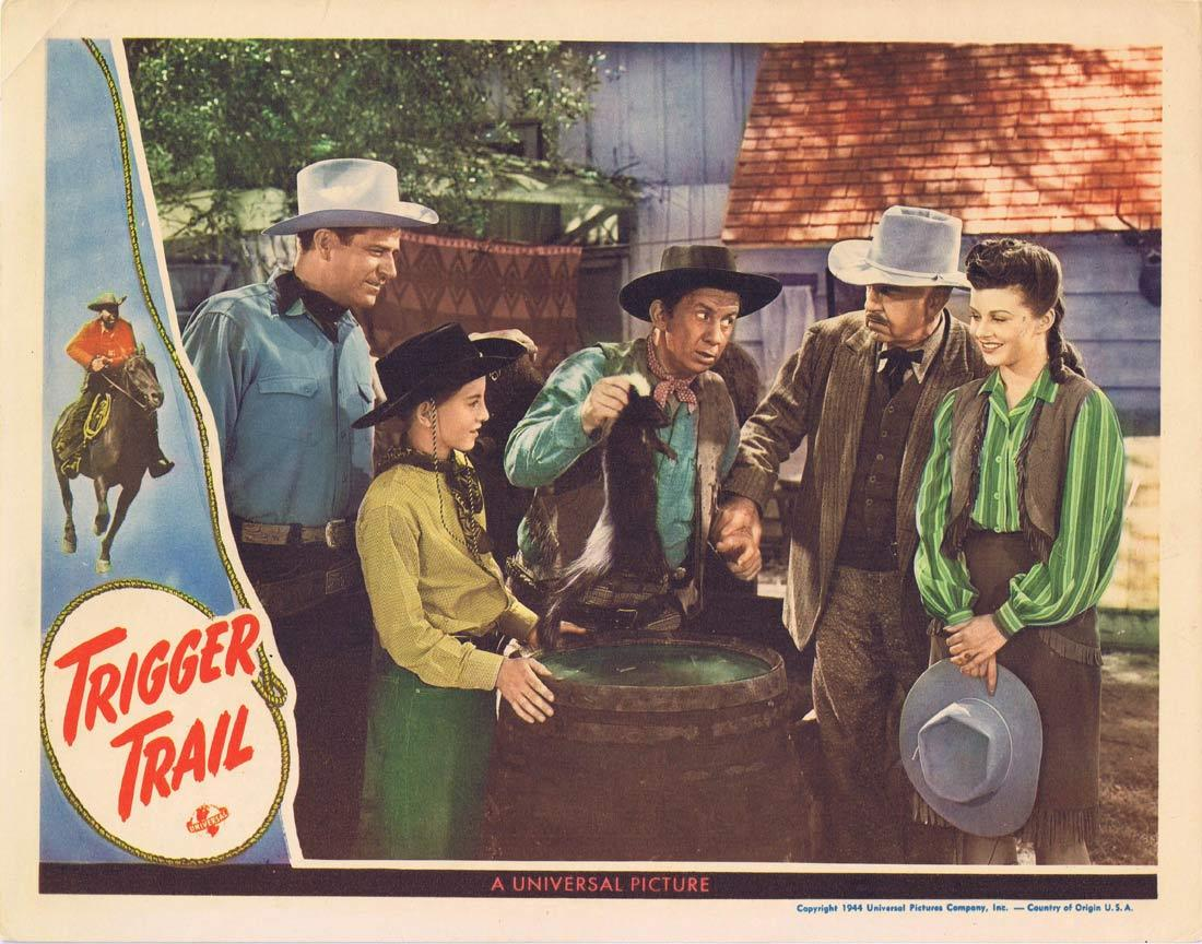 TRIGGER TRAIL Lobby Card Rod Cameron Fuzzy Knight Eddie Dew 1944