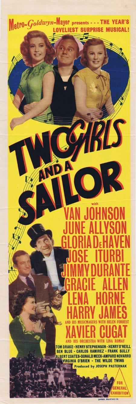 TWO GIRLS AND A SAILOR Original Daybill Movie Poster June Allyson Gloria DeHaven