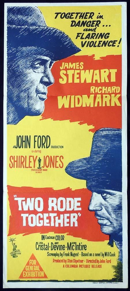 TWO RODE TOGETHER Original daybill Movie Poster JOHN FORD James Stewart Richard Widmark