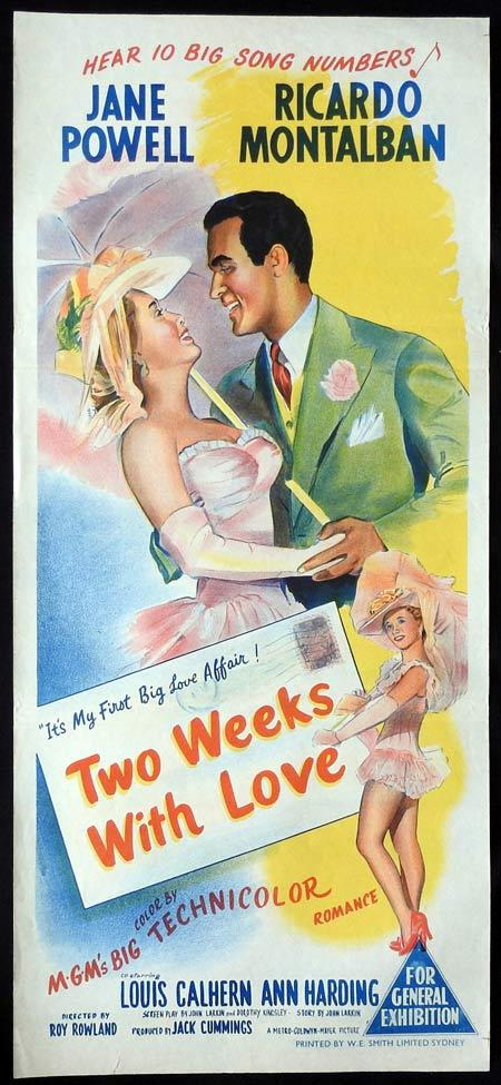 TWO WEEKS WITH LOVE Original daybill Movie Poster Jane Powell Ricardo Montalbán