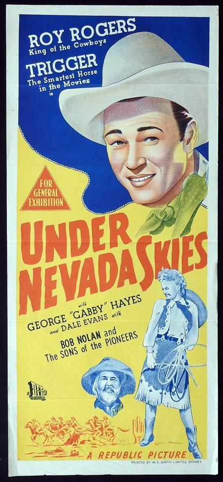 UNDER NEVADA SKIES Original daybill Movie Poster Roy Rogers Dale Evans Trigger