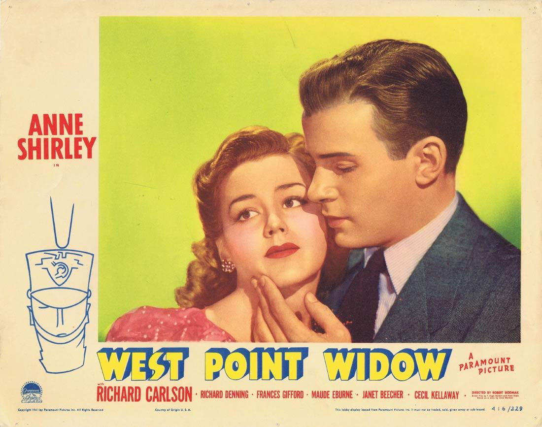 WEST POINT WIDOW Lobby Card Anne Shirley Richard Carlson Richard Denning 1941