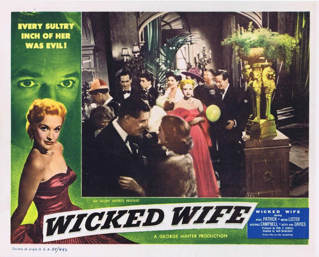 WICKED WIFE Original Lobby Card 4 Nigel Patrick Moira Lister Beatrice Campbell