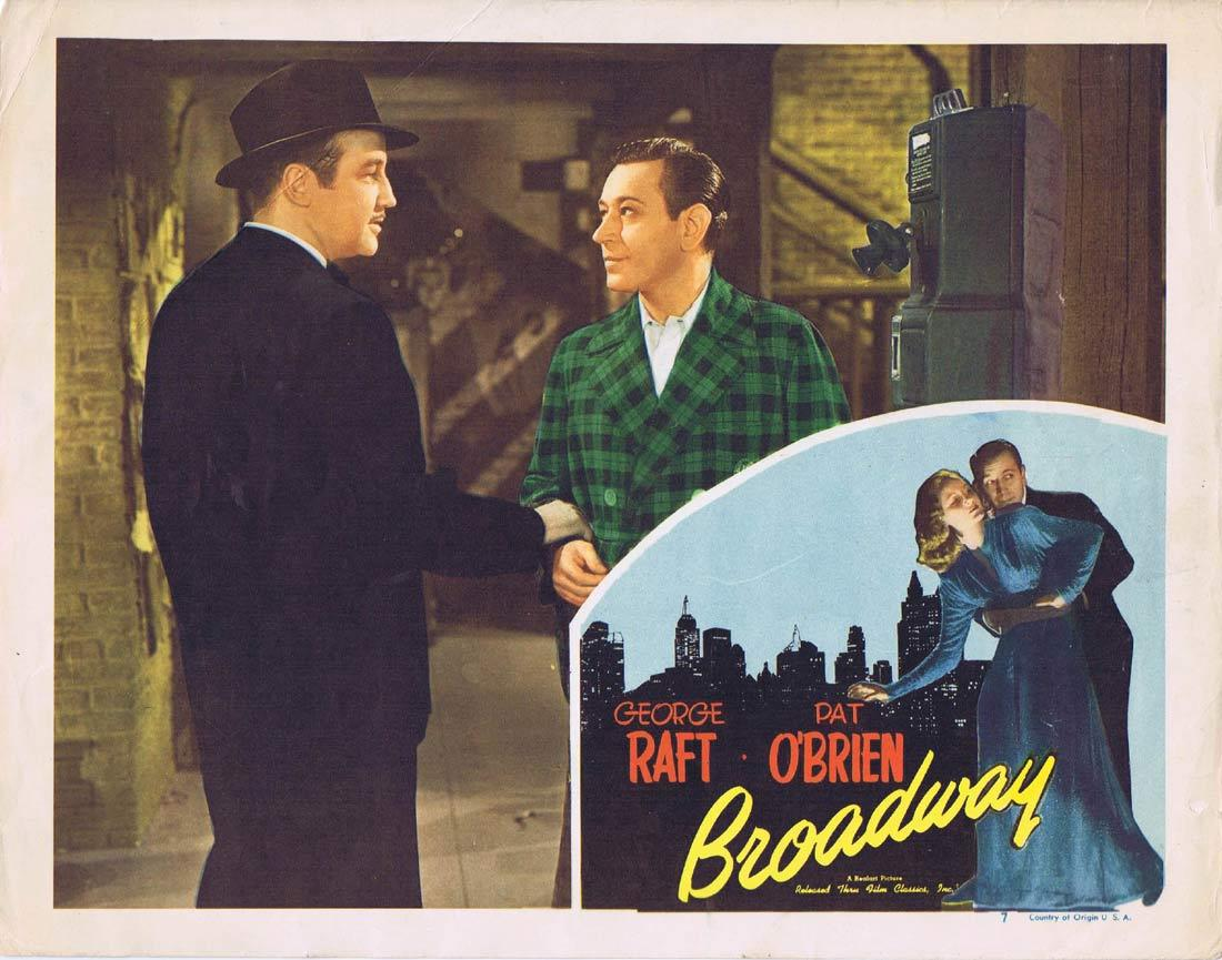 BROADWAY Vintage Lobby Card George Raft Pat O'Brien 1948r Realart