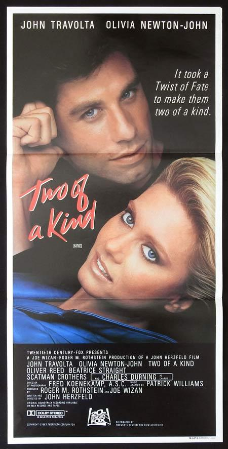 TWO OF A KIND Original daybill Movie Poster John Travolta Olivia Newton-John