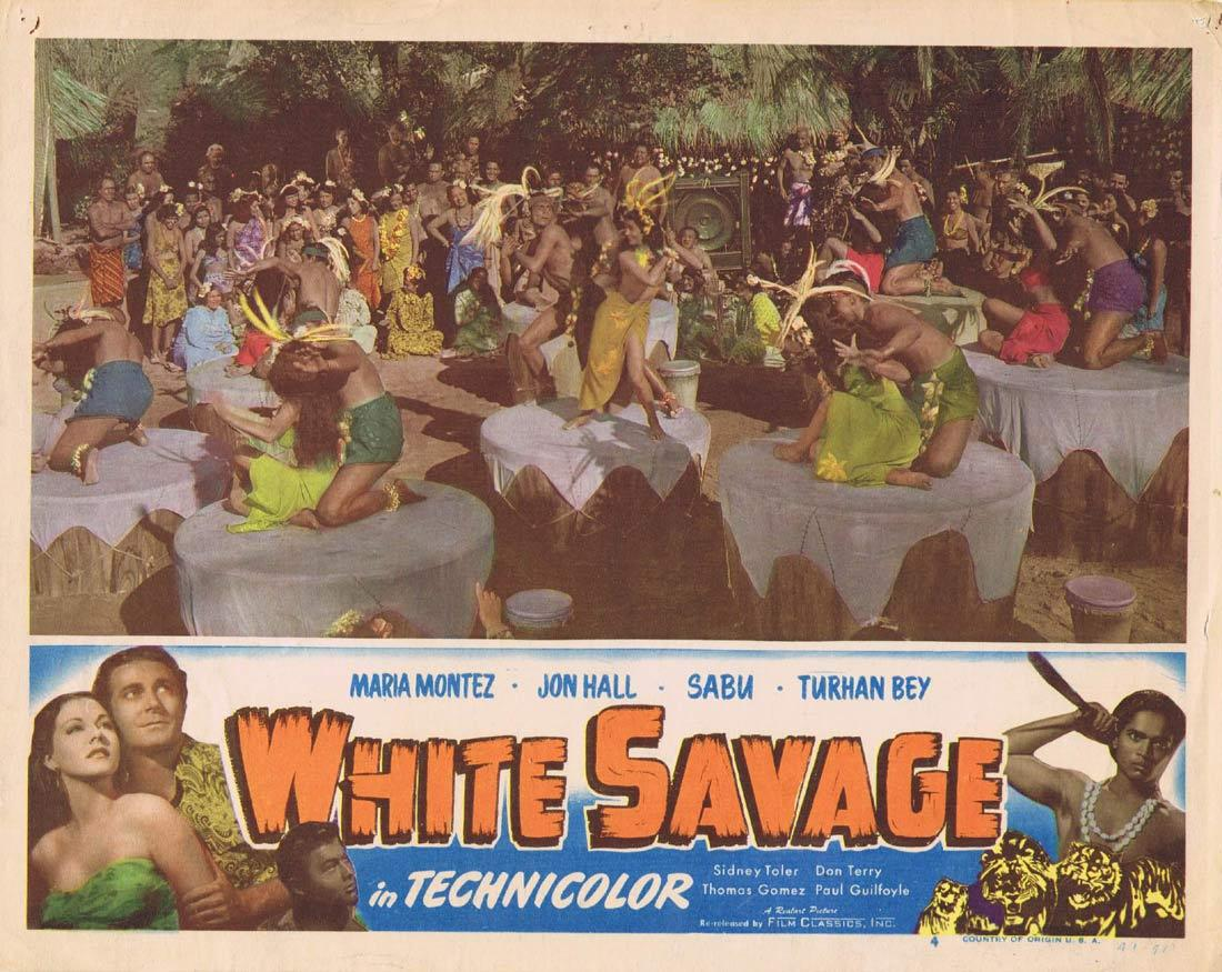 WHITE SAVAGE Vintage Movie Lobby Card 4 Maria Montez Realart 1949r