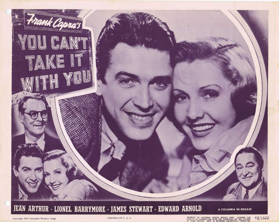 YOU CAN'T TAKE IT WITH YOU Vintage Lobby Card Jean Arthur Lionel Barrymore James Stewart 1948r
