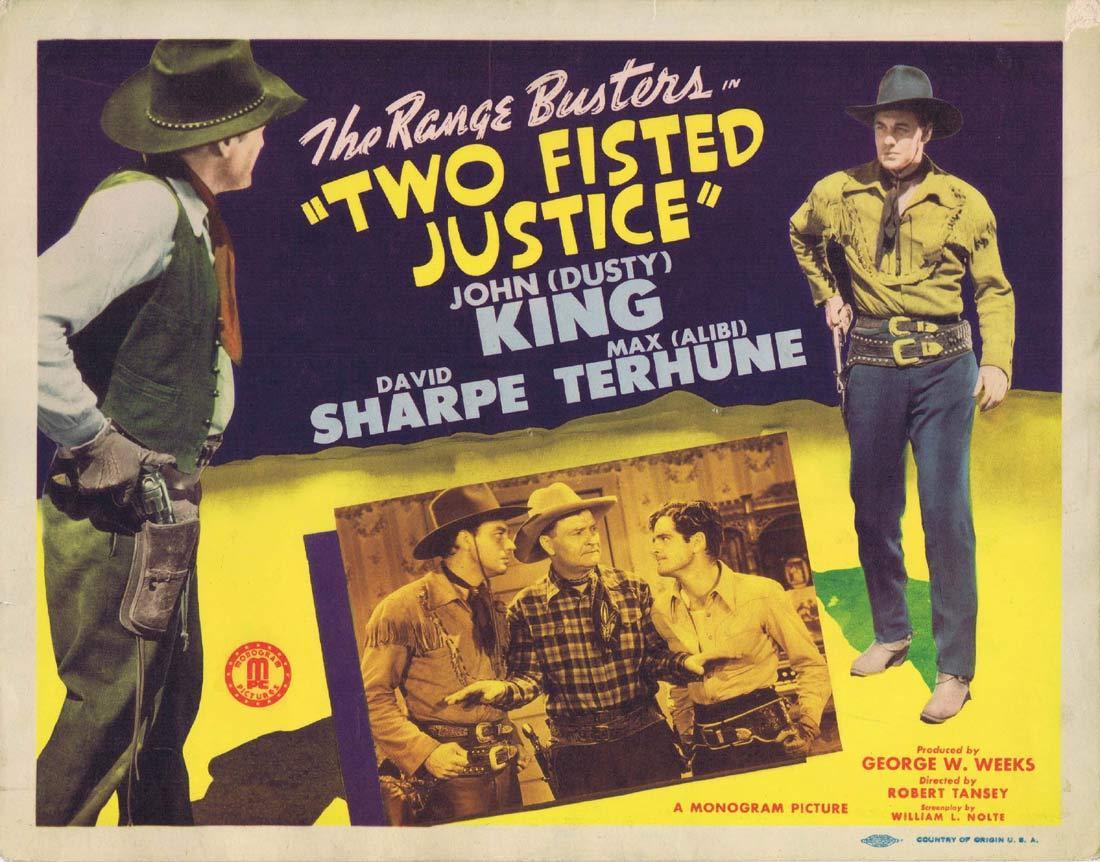 TWO FISTED JUSTICE Original Title Lobby Card John 'Dusty' King David Sharpe Max Terhune