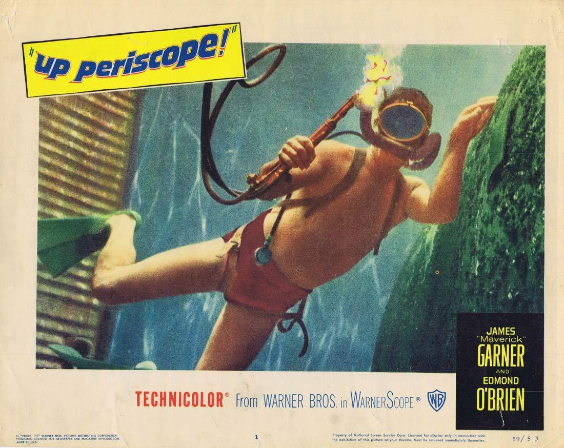 UP PERISCOPE Original Lobby Card 1 James Garner Edmond O'Brien Scuba Diving
