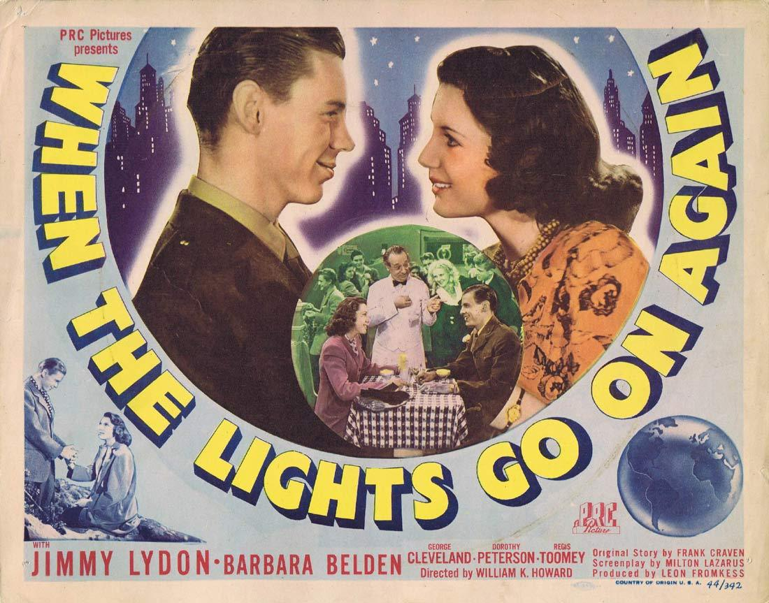 WHEN THE LIGHTS GO ON AGAIN Original Title Lobby Card Jimmy Lydon Barbara Belden