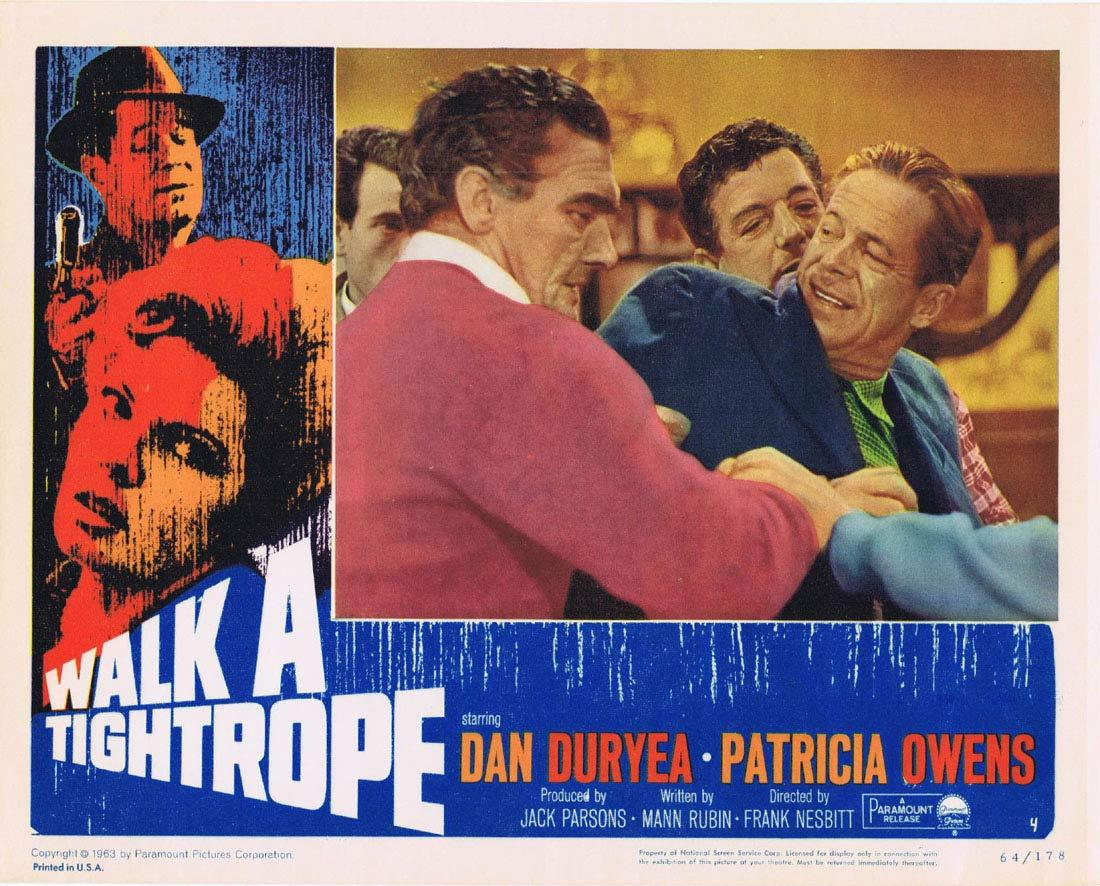 WALK A TIGHTROPE Original Lobby Card 4 Dan Duryea Patricia Owens Terence Cooper