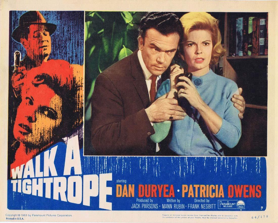WALK A TIGHTROPE Original Lobby Card 7 Dan Duryea Patricia Owens Terence Cooper