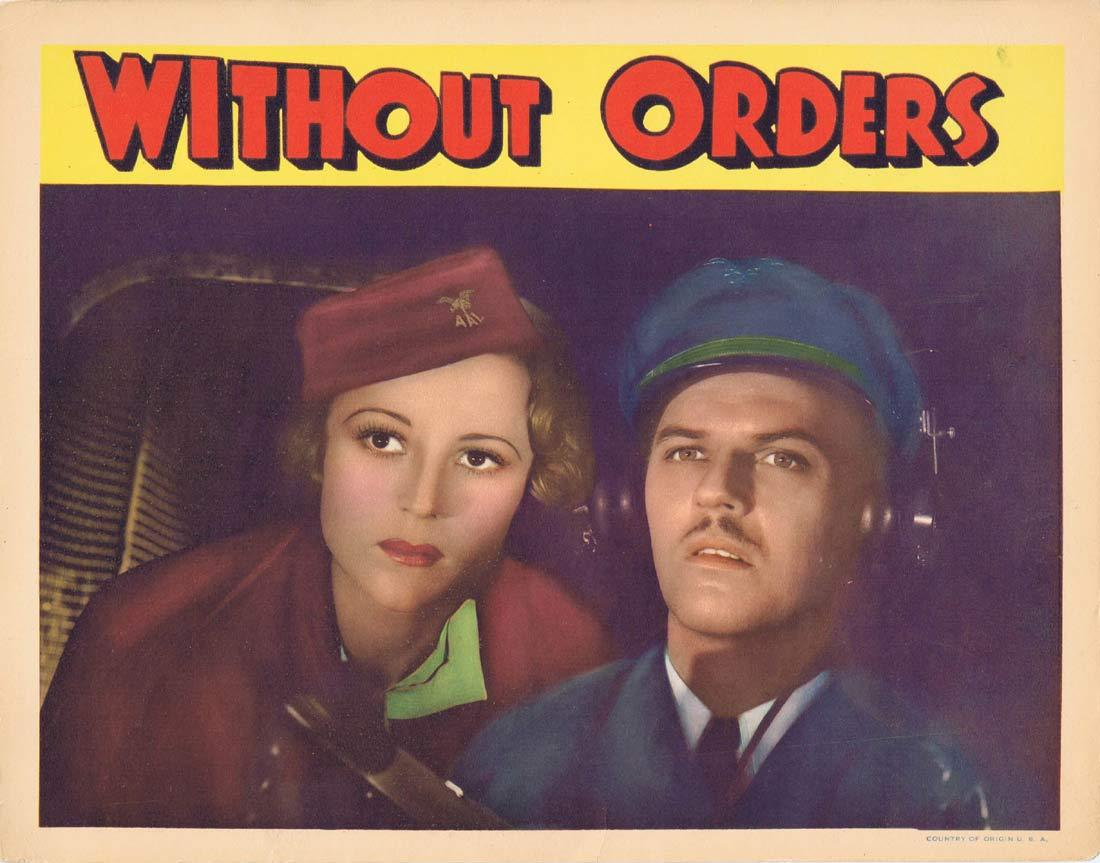 WITHOUT ORDERS Original Lobby Card 2 Sally Eilers Robert Armstrong Frances Sage