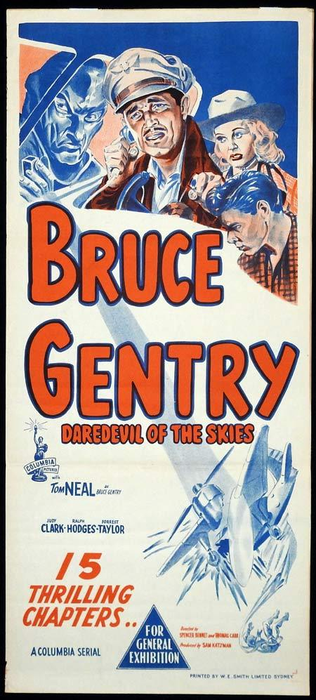BRUCE GENTRY DAREDEVIL OF THE SKIES Movie poster 1950 Columbia Serial daybill