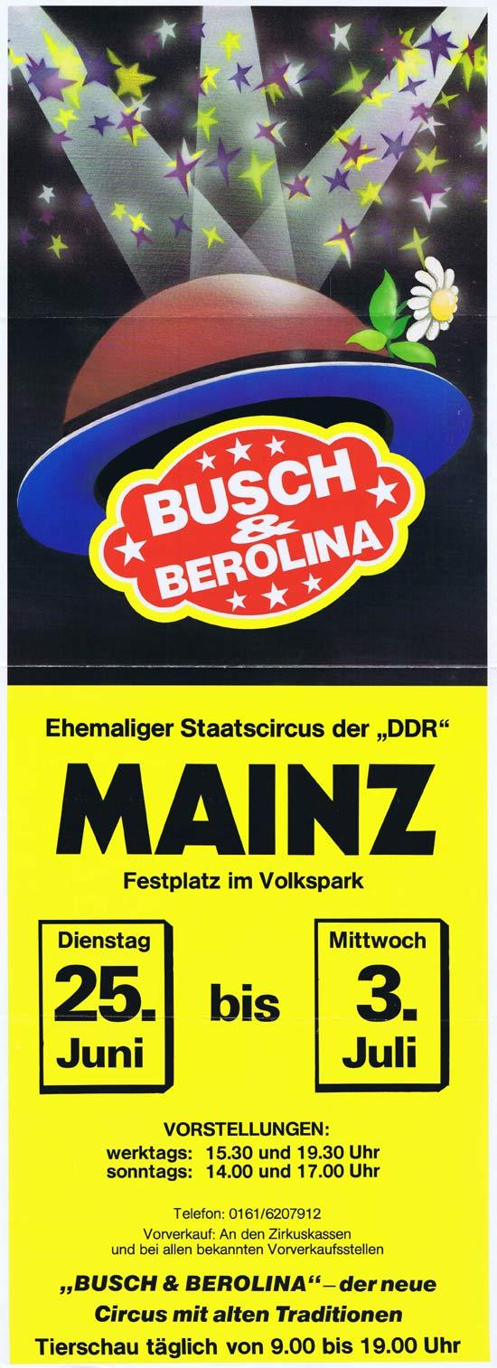 BUSCH AND BEROLINA Original Poster c.1990s MAINZ Germany